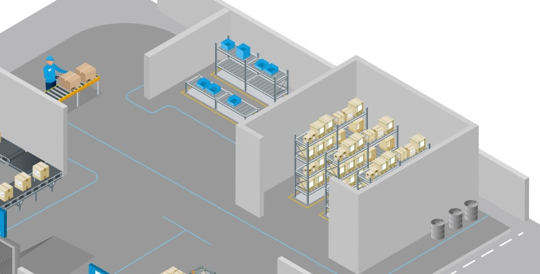 3D top view of an order picking working place